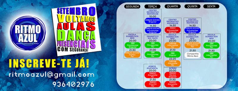horario de aulas de dança latinas, tango, salsa, bachata no Porto pela escola de dança Ritmo Azul