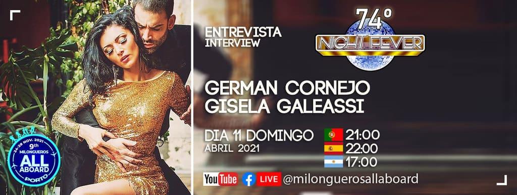 German Cornejo e Gisela Galeassi , bailarinos famosos de tango são entrevistados pelos bailarinos portugueses Isabel Costa e Nelson Pinto