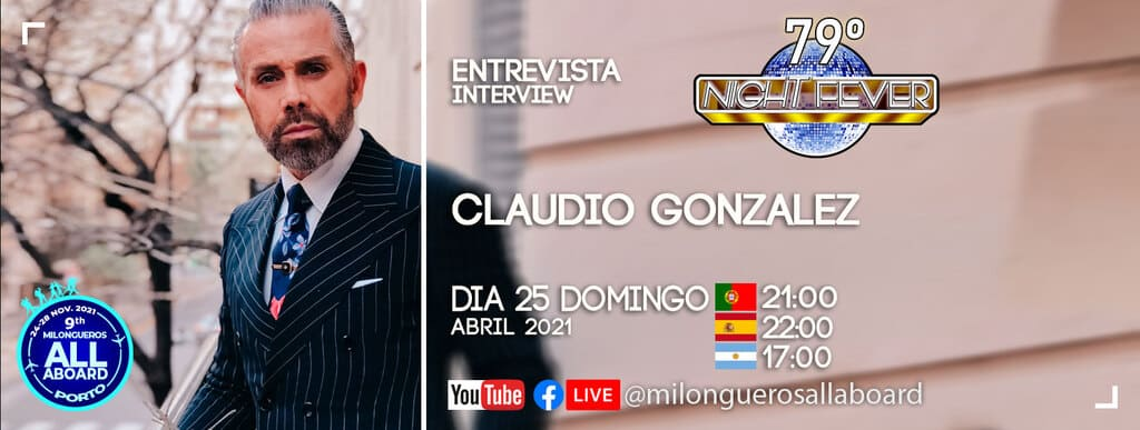 Claudio Gonzalez bailarino de tango argentino é entrevistado pelos bailarinos de tango argentino portugueses - Isabel Costa e Nelson Pinto