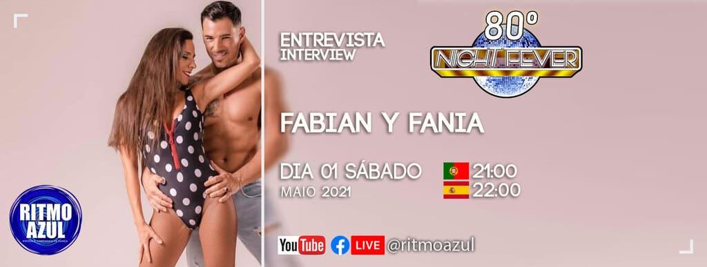 os bailarinos Fabian e Fania do Sabor a Fuego são entrevistados pela escola de dança Ritmo Azul